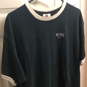 Vintage 90's black nike ringer mini swoosh shirt